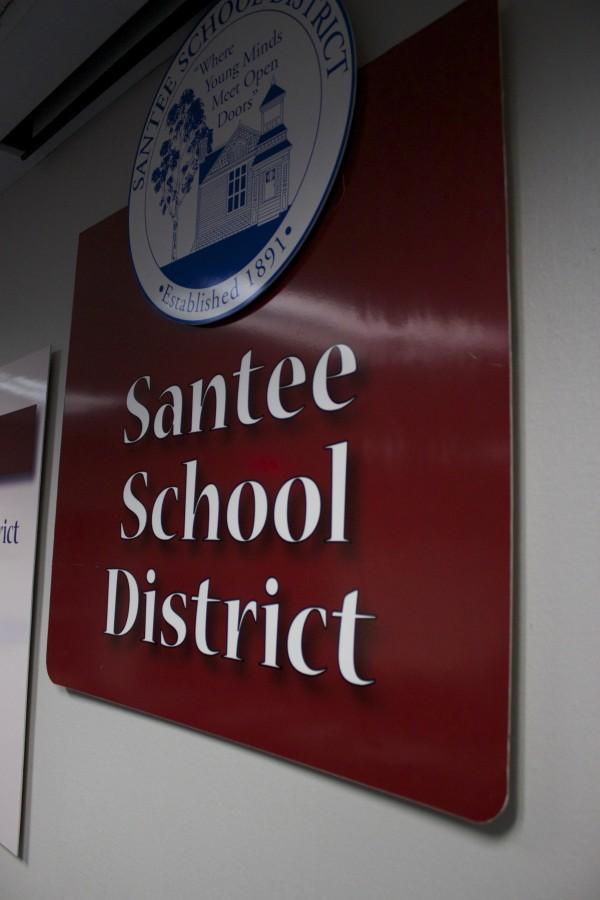 Sign in the Santee School District board meeting room. Credit: Leo Castaneda/inewsource