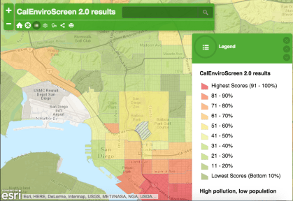 San Diego on CalEnviroScreen's air quality map