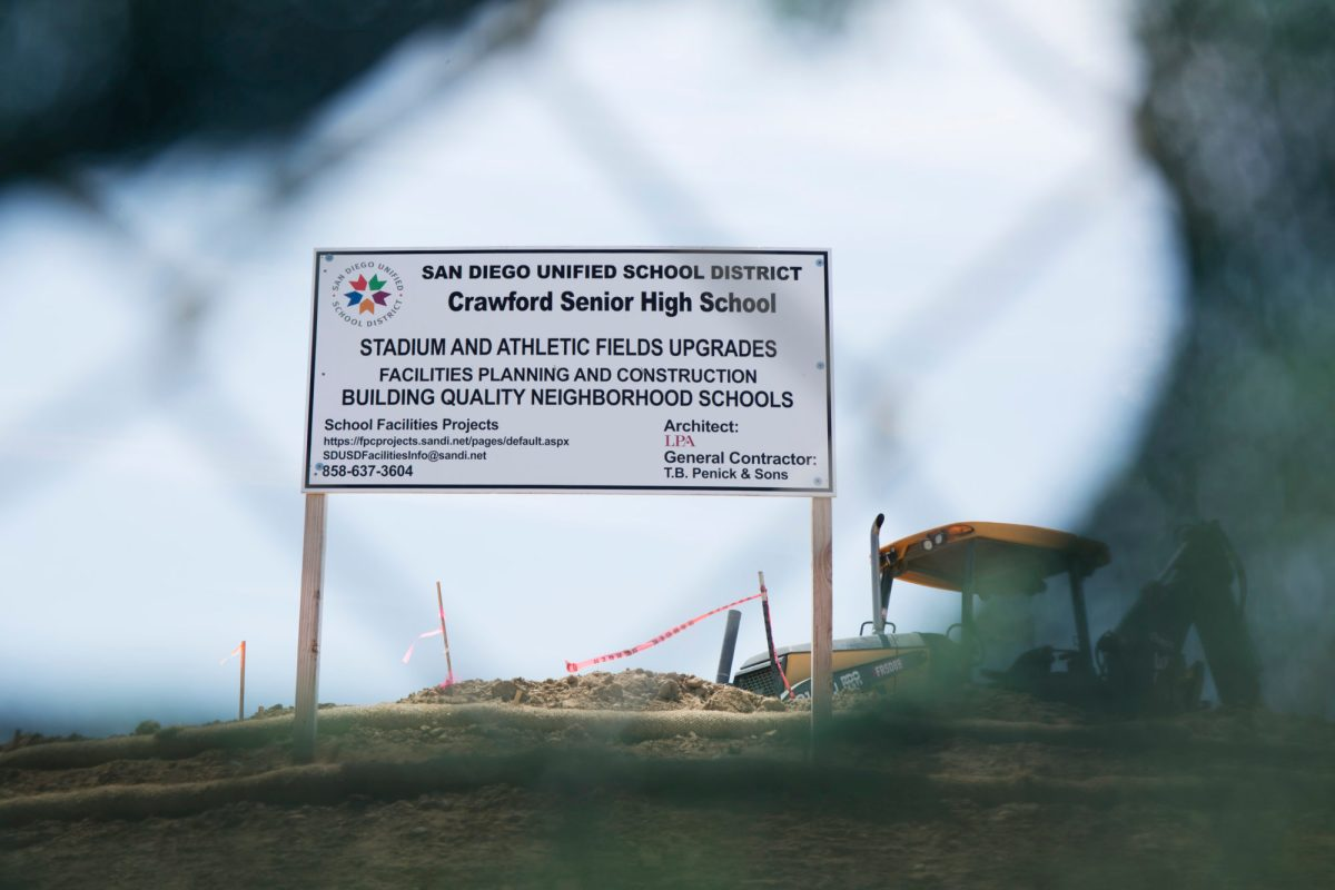 Crawford High School's football field is undergoing construction as part of the Proposition S and Z school modernization plan. San Diego Unified recently issued a capital appreciation bond as part of that proposition. June 6, 2015. Megan Wood, inewsource.