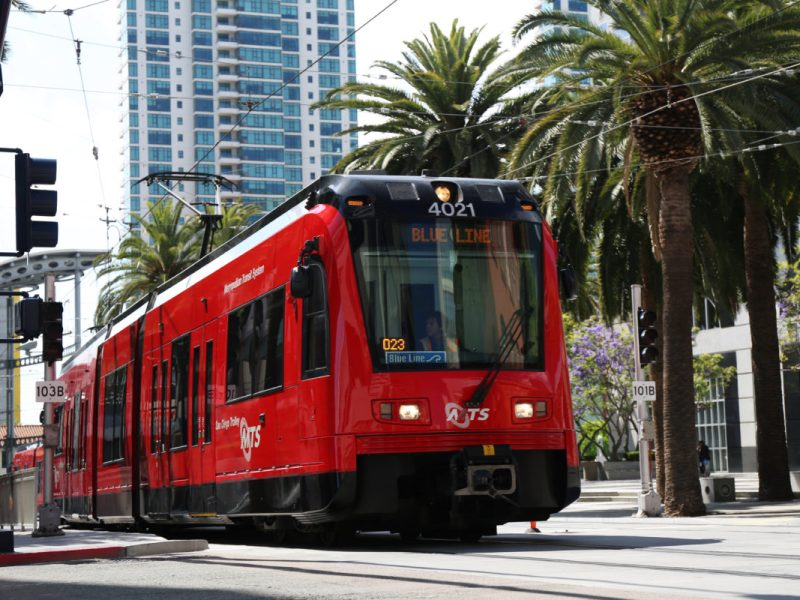 A Blue Line trolley departing from America Plaza on May 10, 2016. Megan Wood, inewsource.