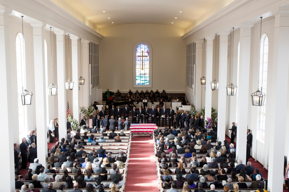 The memorial service for Dr. Richard Butcher at the Point Loma Community Presbyterian Church on Nov. 19, 2016. Megan Wood, inewsource.