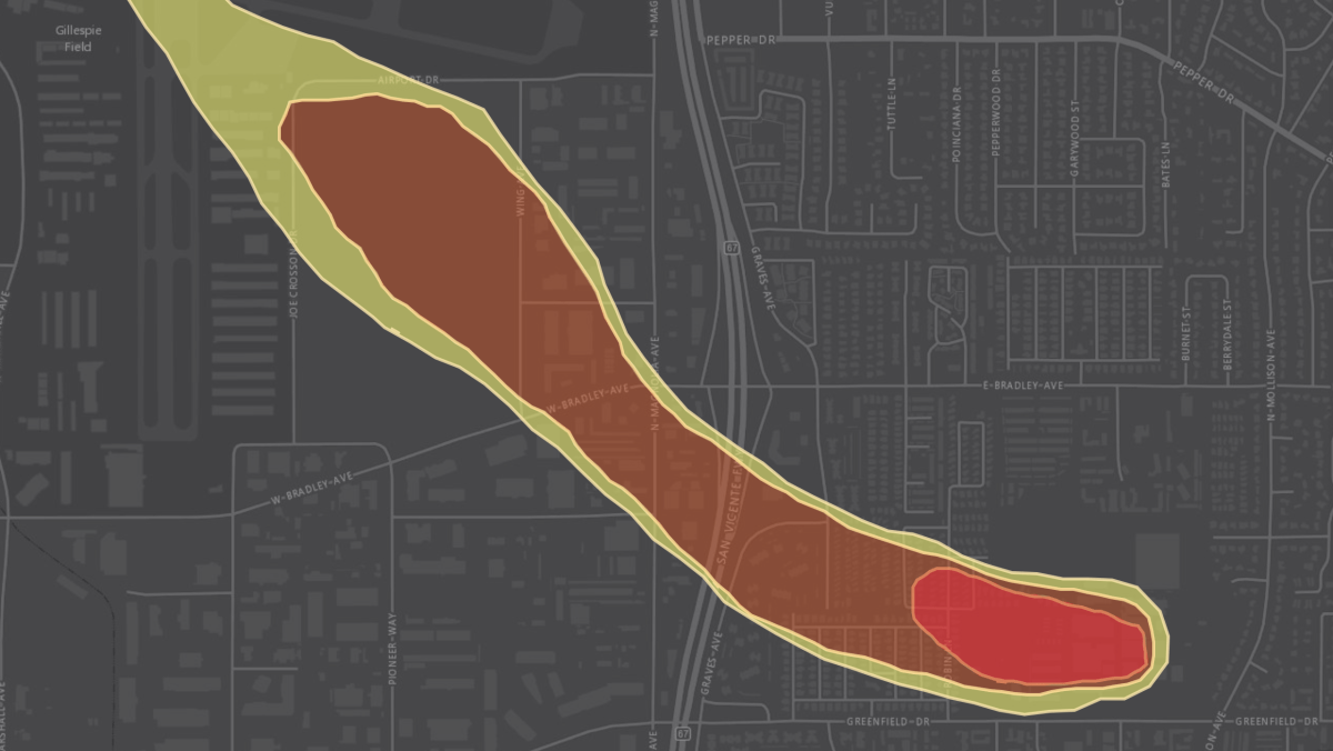 A plume of TCE runs beneath neighborhoods and businesses in El Cajon. It can turn into a gas, filter up through the ground and collect indoors in unventilated spaces.