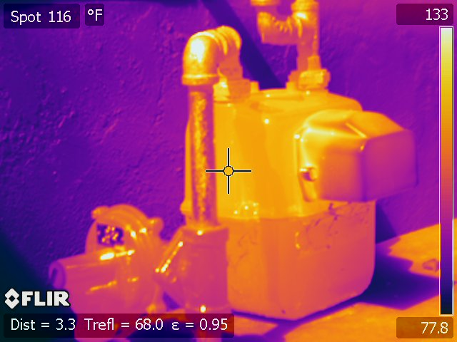A normal gas meter as viewed by a FLIR thermal imaging camera, Oct. 8, 2017. Ingrid Lobet/inewsource
