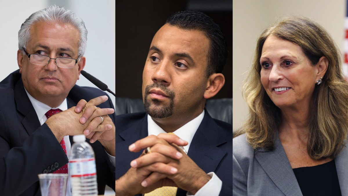 Four of San Ysidro's seven superintendents since 2013 have come from school districts in the East Los Angeles area, including Edward Velasquez (left), Julio Fonseca (middle) and Mary Willis (right). (Velasquez, Fonseca: Megan Wood/inewsource, Willis: Leonardo Castañeda/inewsource)