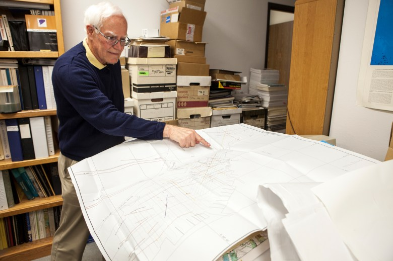 Mark Legg, president of Legg Geophysical, Inc. in Huntington Beach, California, points to various fault lines that have been discovered in and around San Diego. (Brandon Quester/inewsource)