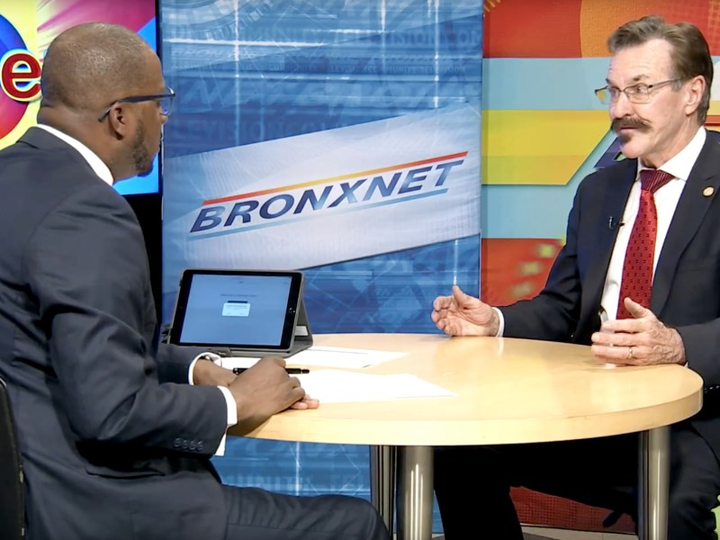 A YouTube screenshot of a Nov. 15 interview with Bronxnet host Daren Jaime (left) and Dr. Jack Lewin (right).