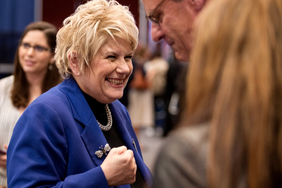 Former San Diego County District Attorney Bonnie Dumanis talks with supporters at Golden Hall following the primary election on June 5, 2018. (Megan Wood/inewsource)