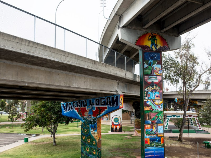 Chicano Park located beneath the San Diego-Coronado Bridge in Barrio Logan on July 9, 2018. (Megan Wood/inewsource)
