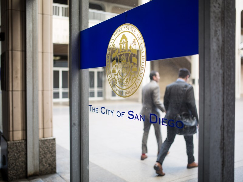 San Diego's seal is shown at the downtown City Administration Building, May 8, 2018. Megan Wood/inewsource