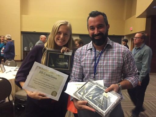 Brad Racino and Jill Castellano with awards