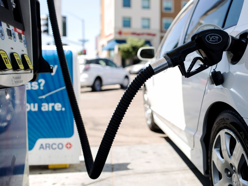 A car is shown at a gas station near the San Diego State University campus on Sept. 5, 2018. (Megan Wood/inewsource)