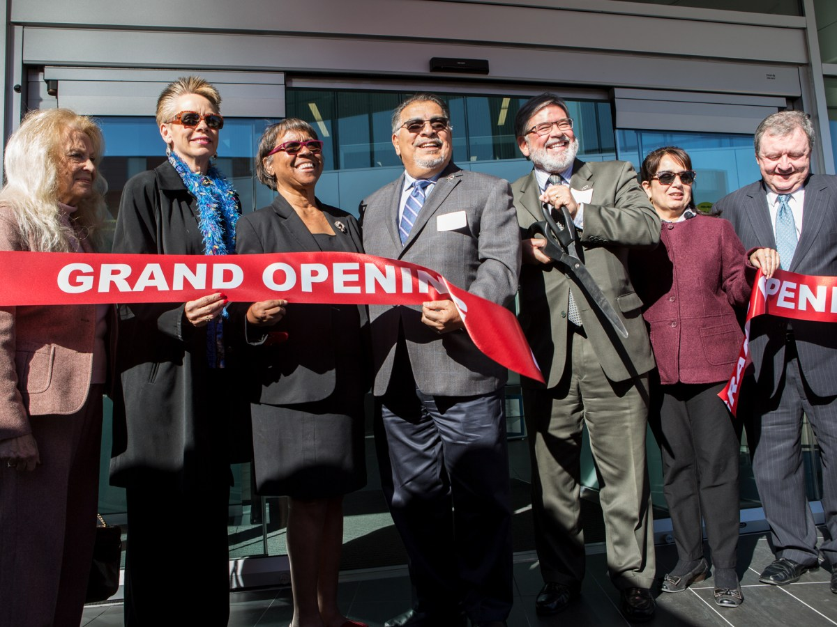 Palomar College President Joi Lin Blake (third from left) is shown at the grand opening of the school's $67 million library on Feb. 22, 2019. The library's top floor is being remodeled to give Blake an office suite.