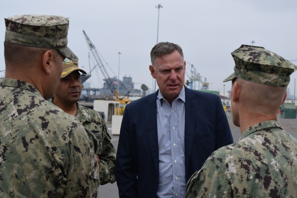 Democratic Rep. Scott Peters visits the Littoral Combat Ship Training Facility at Naval Base San Diego in May 2018.