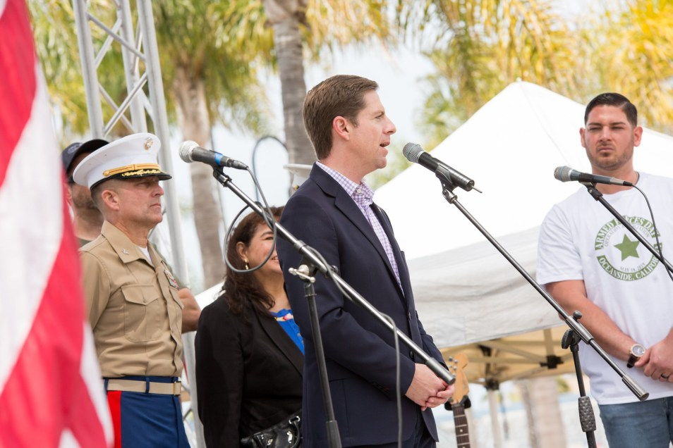 Democratic Rep. Mike Levin speaks during an Armed Forces Day event in Oceanside on May 19, 2019.