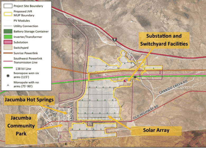 This image in a staff report to the San Diego County Planning Commission shows the size and elements of a proposed solar project in Jacumba Hot Springs that would stretch from Interstate 8 to the U.S.-Mexico border.