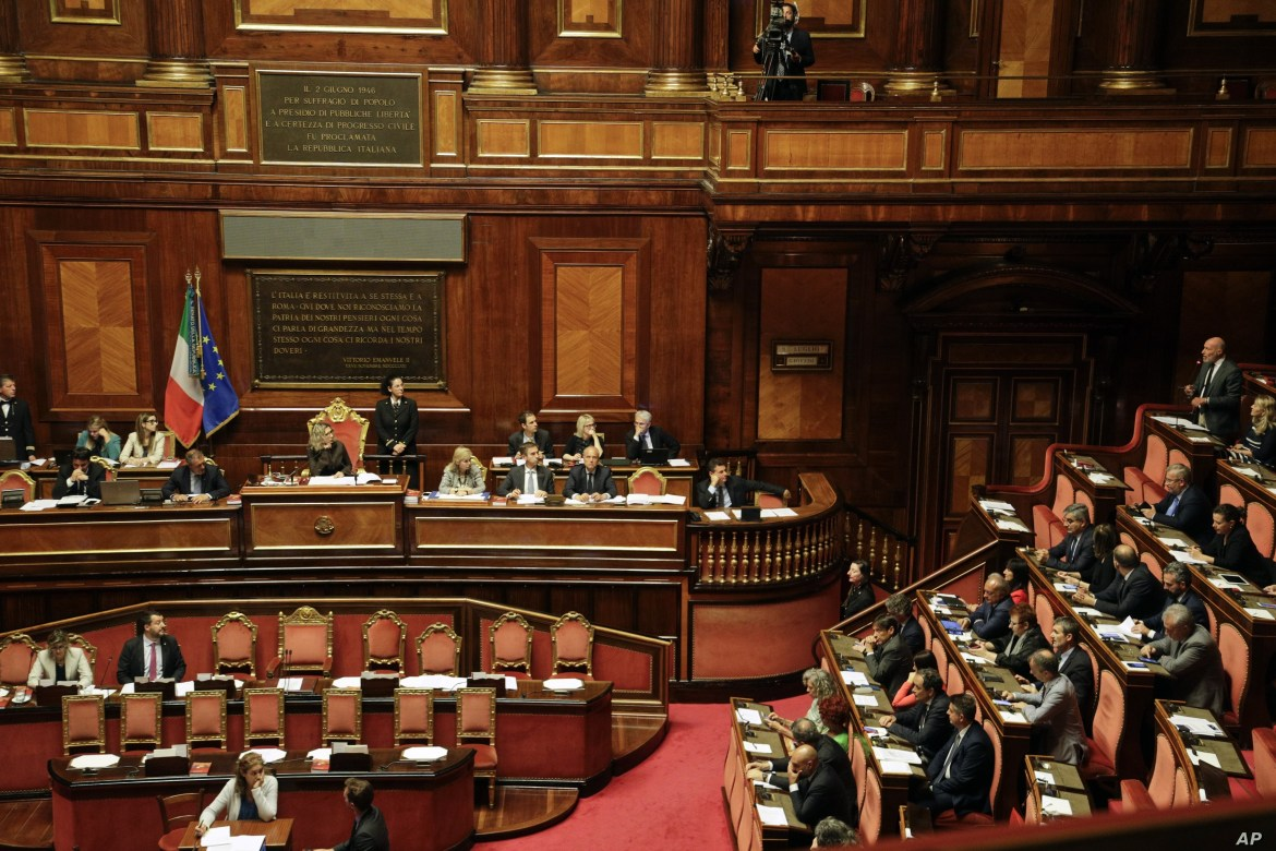 Italian Senator Gregorio De Falco, top right, speaks at the Senate in Rome, July 11, 2019. Opposition lawmakers want to question Italian Interior Minister Matteo Salvini about allegations a Russian oil deal was devised to fund his pro-Moscow League party.