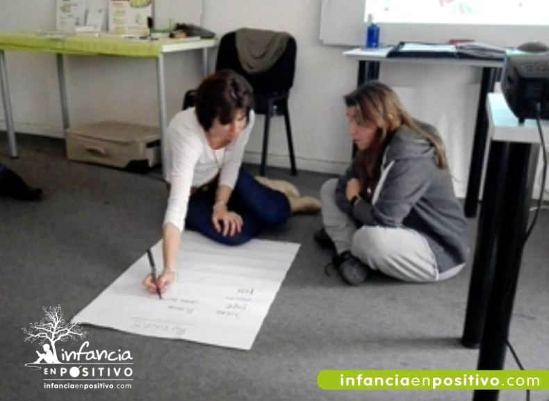 Tabla de rutinas en taller de Disciplina Positiva
