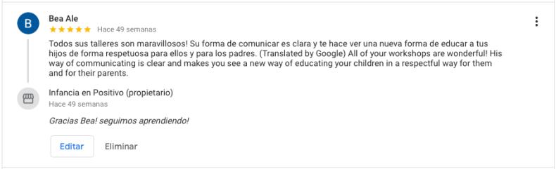 Testimonio real de reseñas Google