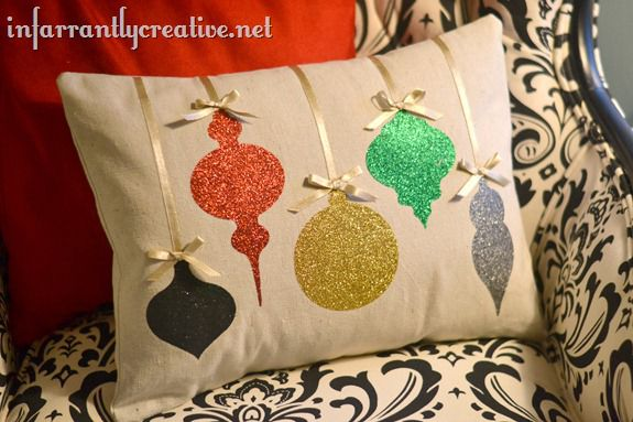 christmas glitter pillow