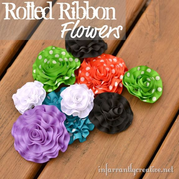 rolled ribbon-flowers