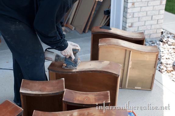 sanding dresser drawers