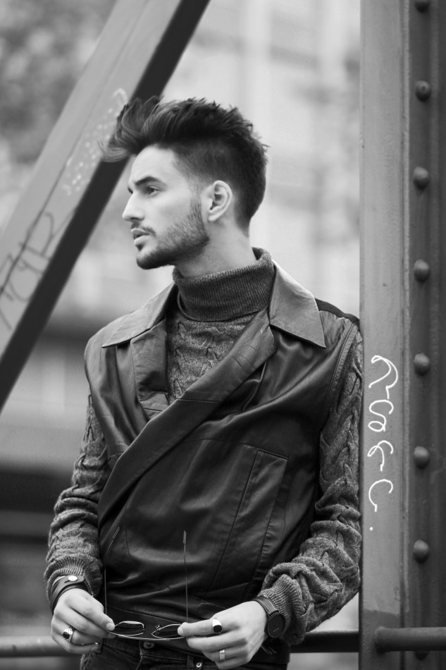 adrien guarino swiss model infashionity menswear platform fashion blog henri balit photography styling leather vest skinny jeans suede boots menswear look black white