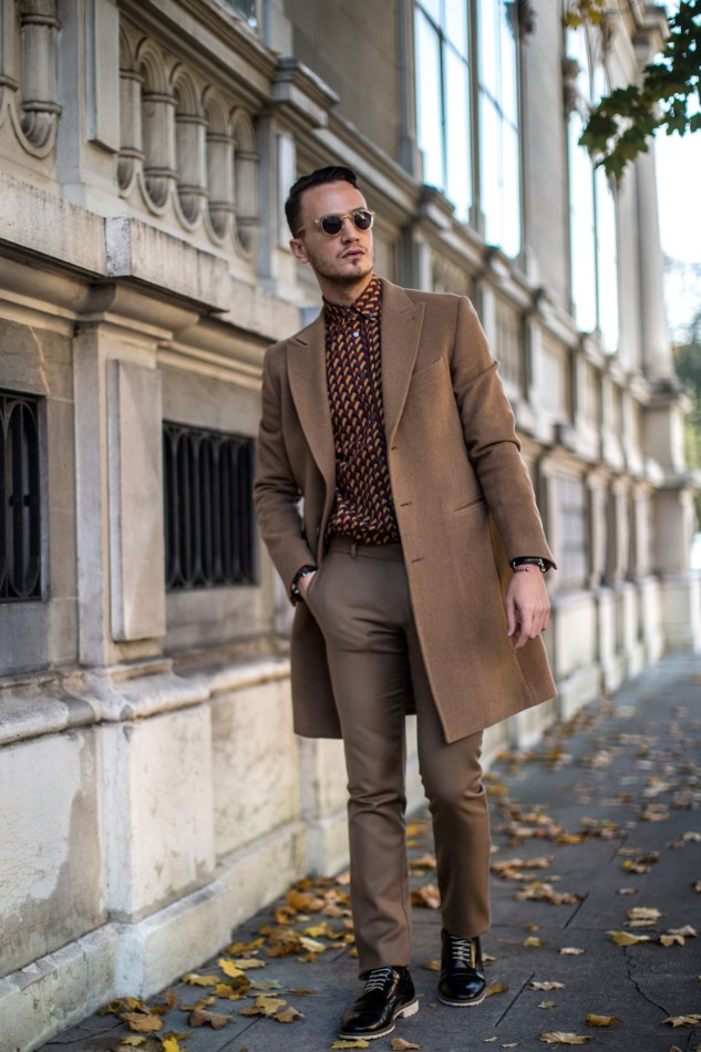 infashionity swiss men's fashion blog styling camel coat bally graphic shirt fall style