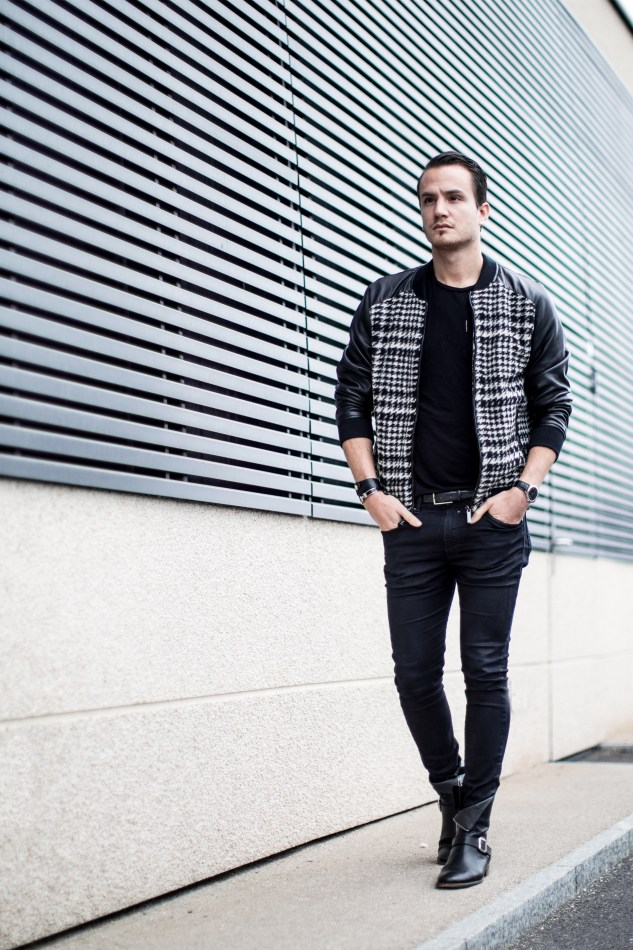 infashionity menswear fashion blog bomber jacket skinny jeans boots man look