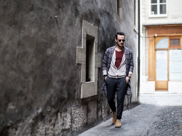 menswear fashion blog infashionity henri balit the chic man prince of wales check coat zara beige chelsea boots old town streetstyle man