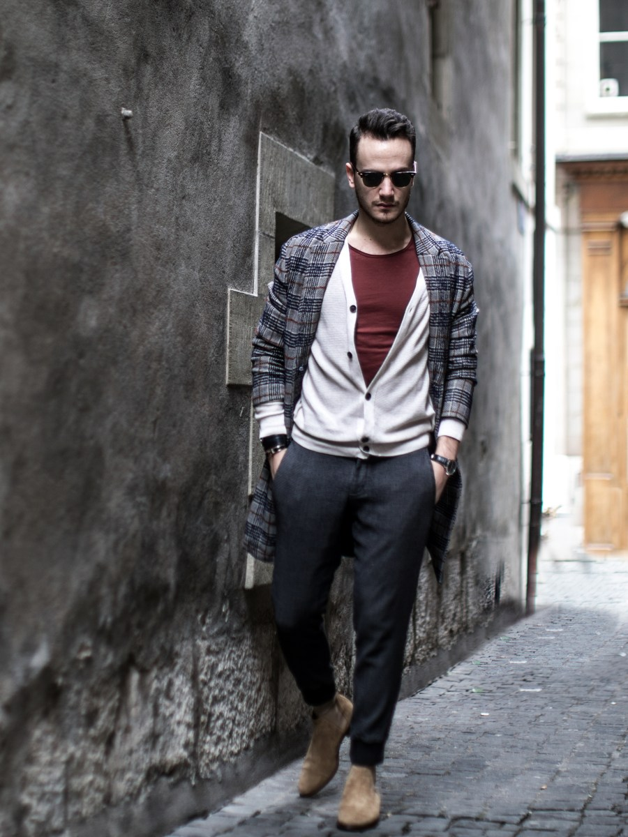 menswear fashion blog infashionity henri balit the chic man prince of wales check coat zara beige chelsea boots old town clubmaster eyewear