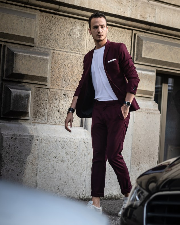 burgundy suit with white sneakers common projects infashionity menswear fashion blog
