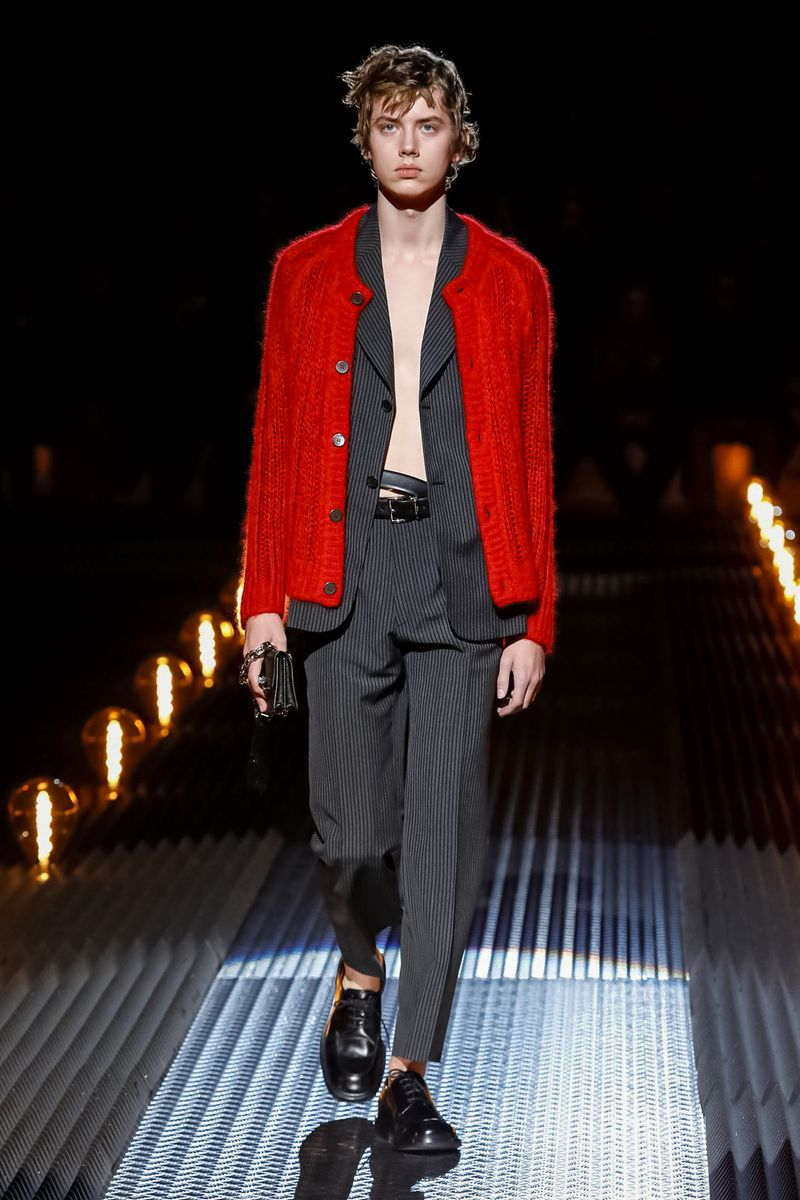 prada fw19 red cardigan