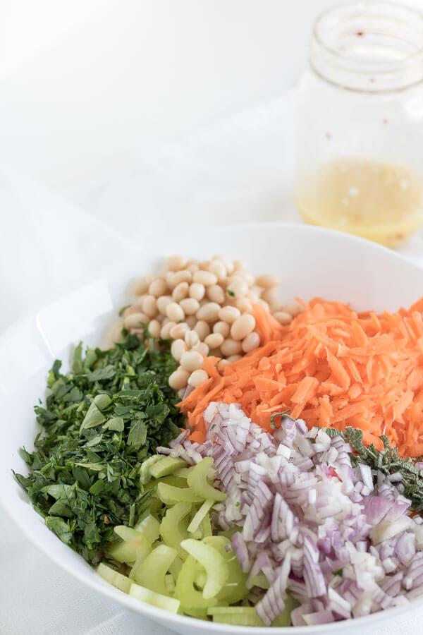 Lemon and Herb Summer Bean Salad vegan summer salads potluck carrots brunch beans BBQ