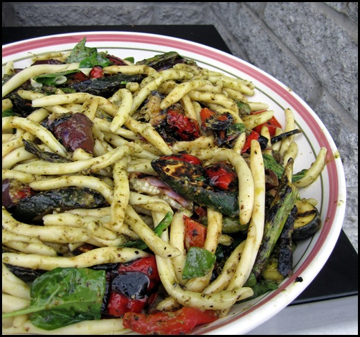 grilled vegetable and pesto pasta
