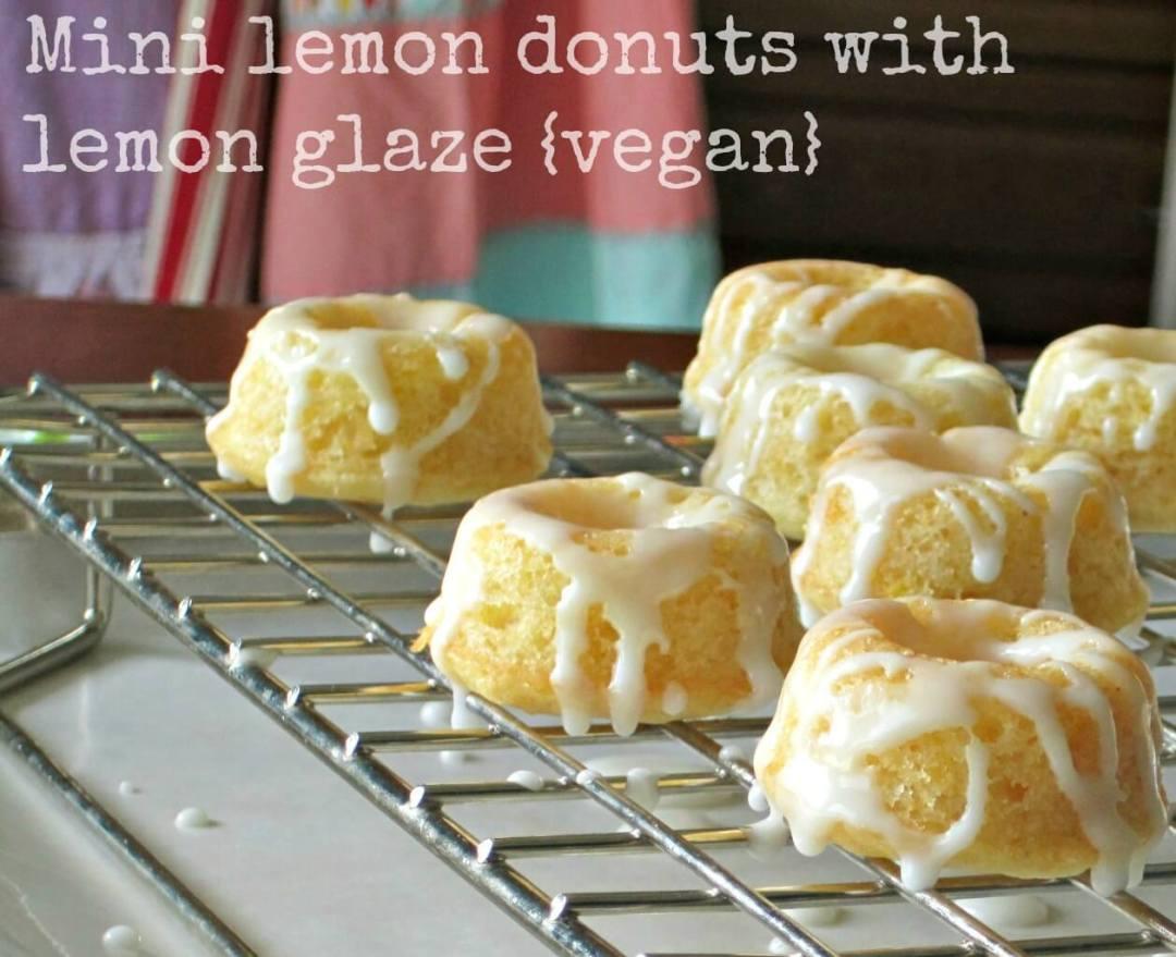 Baked Lemon Donuts with Lemon Glaze virtual vegan potluck vegan vanilla lemon glaze lemon frosting lemon donuts coconut oil