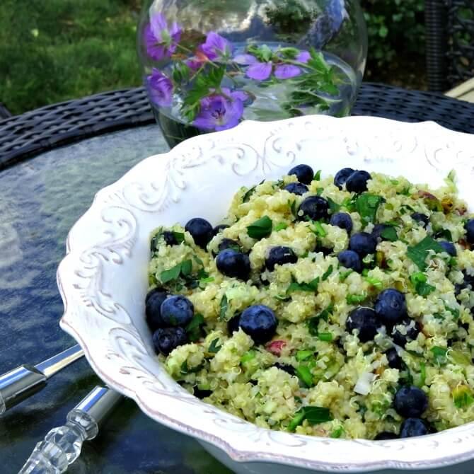 Quinoa and Blueberry Salad with Pistachios summer salads quinoa potluck pistachio picnic orange honey blueberry