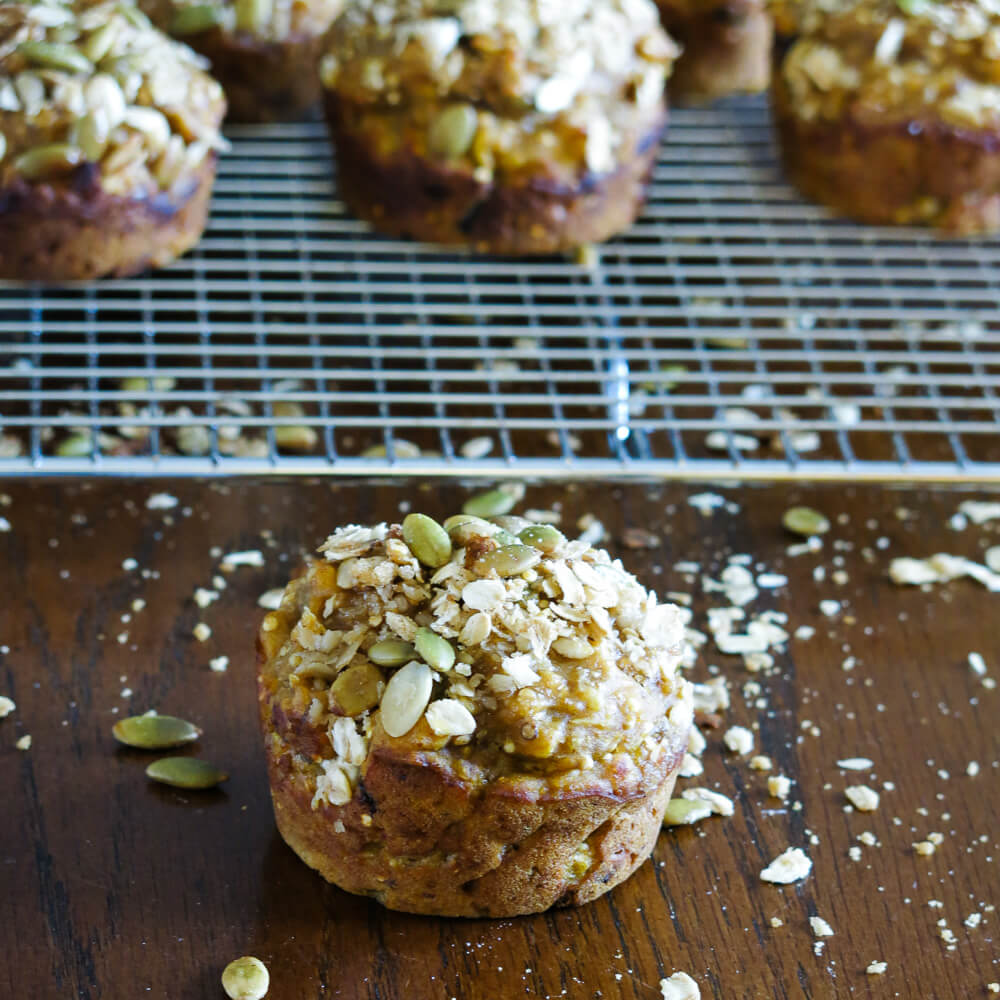 Multi-grain pumpkin muffins with brown sugar streusel topping