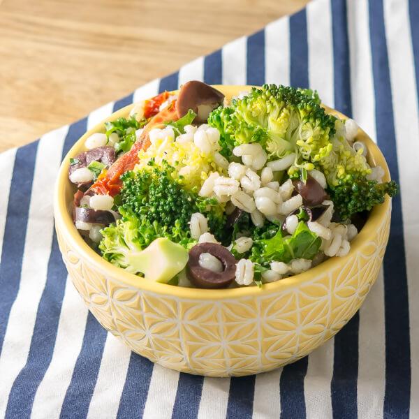 Mediterranean Broccoli and Barley Salad and a cookbook