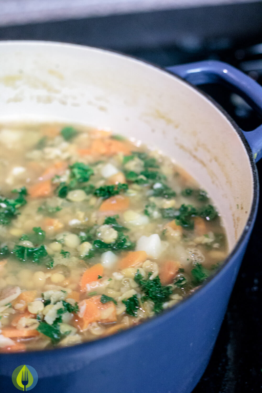 Lemony Split Pea and Kale Soup winter vegan split pea soup new years lemon kale jalapeno carrots