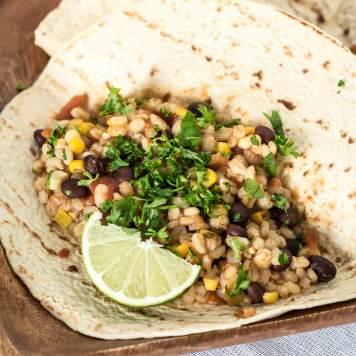 Slow Cooker Black Bean and Barley Burritos | infinebalance.com #vegan #recipe