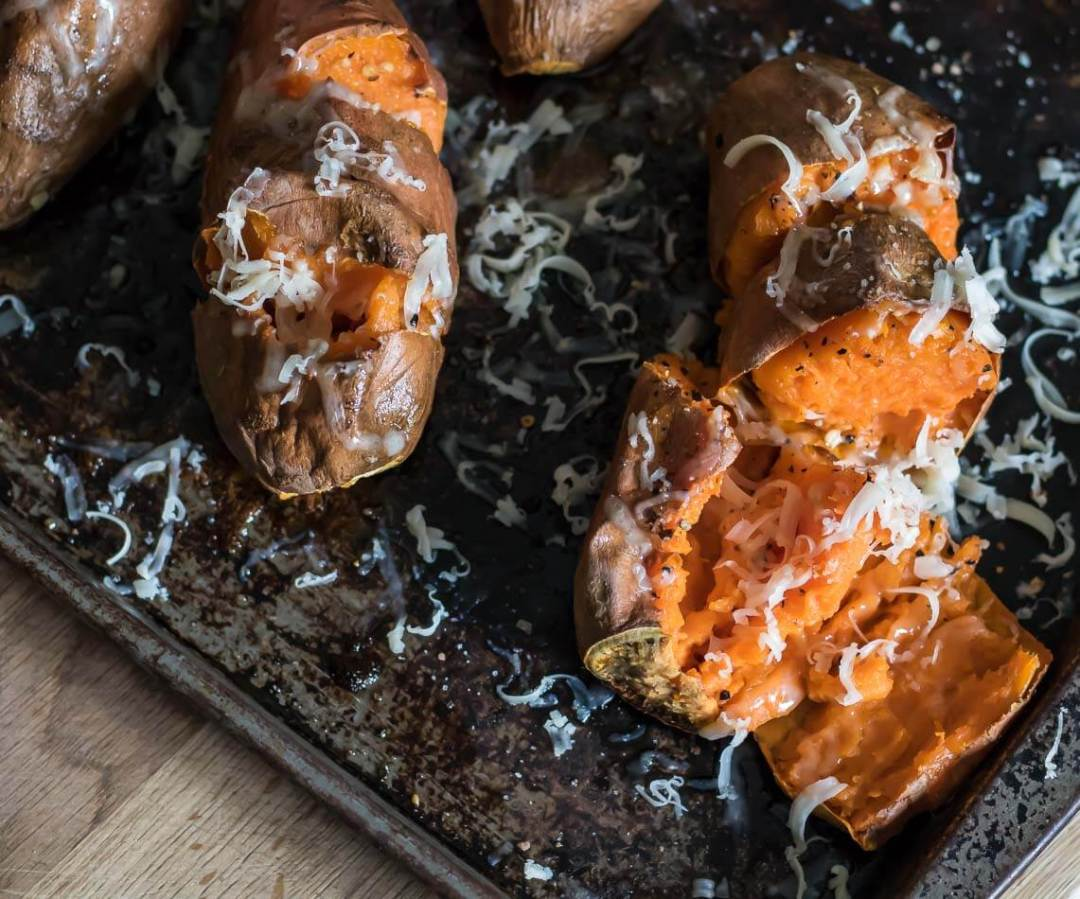 Caramelized Roasted Sweet Potatoes with Smoked Cheddar sweet potato smoked cheddar roasted chili salt cheddar