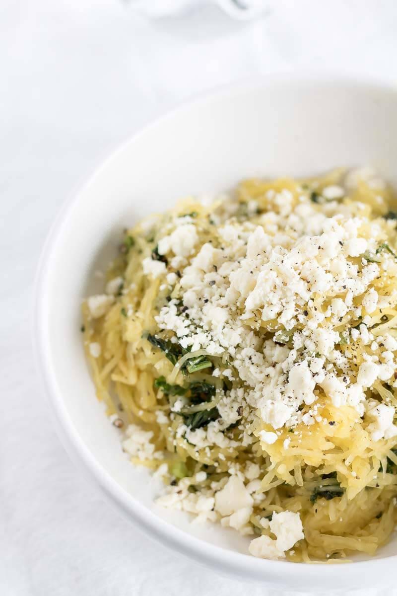 Spaghetti Squash with Feta and Kale | infinebalance.com #recipe