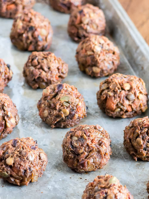 Vegetarian Lentil Meatballs | infinebalance.com #recipe