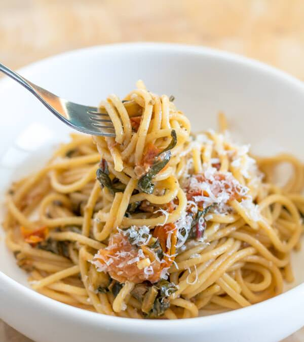 Spaghetti with Swiss Chard and Tomato