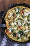 Spinach and Goat Cheese Frittata weeknight cooking spinach peppers meatless mondays goat cheese eggs easy brunch