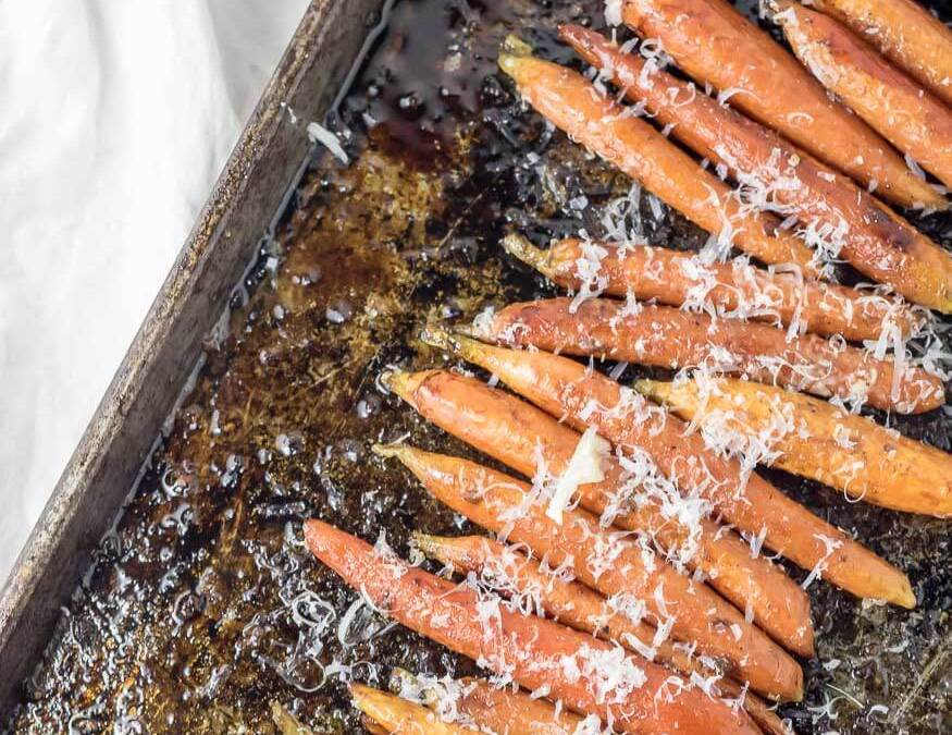 Balsamic and Garlic Roasted Carrots with Parmesan