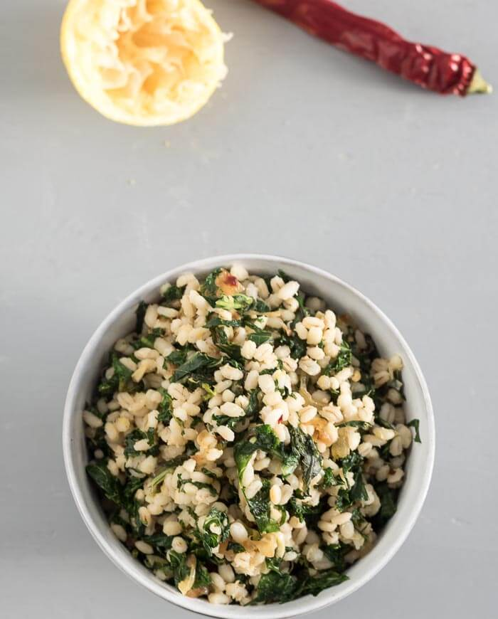 Barley with Lemon and Kale - hearty whole grains tossed with fresh, vibran flavours. A vegan recipe. Side dish or main dish.