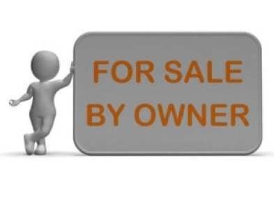 Cartoon man leaning on for sale by owner sign