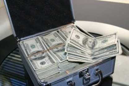Suitcase full of $100 bills