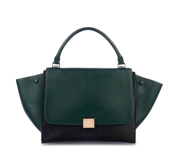Style Theory Designer Bags_Celine Trapeze Medium Bicolour Forest Green